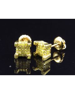 10K Yellow Gold 3D Prong Canary Cube Earrings (0.75 ct)