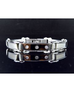 Stainless Steel Bracelet with Three Stone Solitaire Front (0.25 ct)