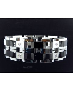 Multi-Tone Stainless Steel Bracelet with Solitaire Links (0.50 ct)