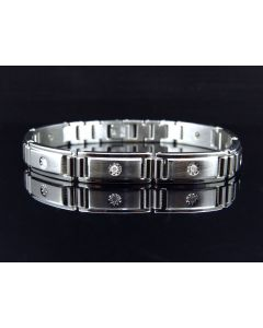 Stainless Steel Bracelet with Bezel Set Solitaire Links (0.20 ct)