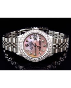Ladies Rolex Datejust Pink Dial Stainless Steel Diamond Watch (2.5 ct)