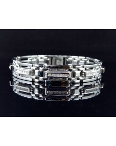 Stainless Steel Bracelet with Diamond Row Links (0.50 ct)