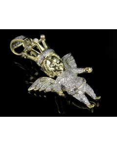 10K Yellow Gold Angel Cherub With Crown Diamond Pendant 0.75 Ct
