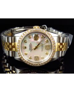 Rolex Datejust 18k Stainless Steel 16013 White MOP Dial Diamond Watch (2.5 Ct)