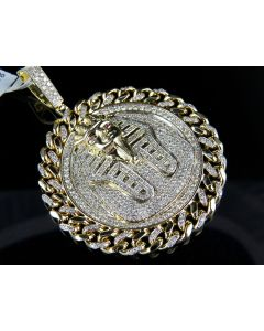 Yellow Gold Egyptian Pharaoh Medallion Cuban Link King Tut 3 Inch Pendant Charm 6.0ct