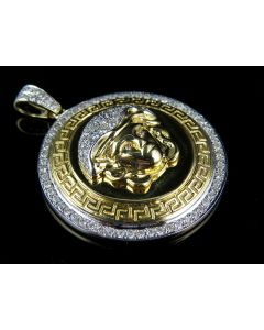 "10K Yellow Gold Custom Diamond Bezel Medusa Pendant 1.75"" (1.86 ct)"