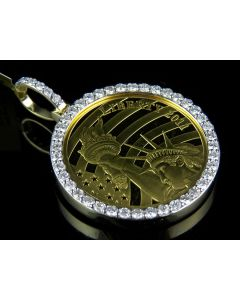 24K Solid Yellow Gold Coin Lady Liberty Half Ounce Diamond Pendant Charm 2.2 ct.