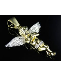 10K Yellow Gold Praying Hands Angel Diamond Pendant Charm 0.88ct 1.8""