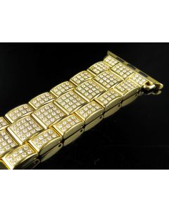 Yellow Finish Stainless Steel Apple I-Watch Simulated Diamond Watch Bracelet