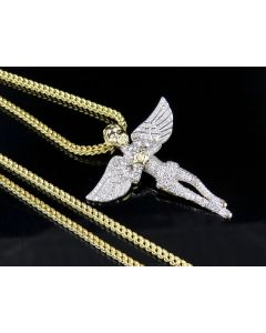 Men's 10K Yellow Gold Genuine Diamond Iced Angel Pendant Chain 1Ct 1.5""
