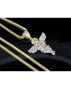 Mens 10K Yellow Gold Diamond Cherub Angel Pendant Chain Set .60Ct 1.5""