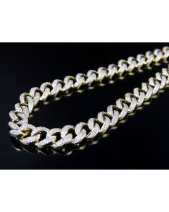 Men's Solid Miami Cuban Real Diamond Chain Necklace 6.6 ct 7MM 31 Inch