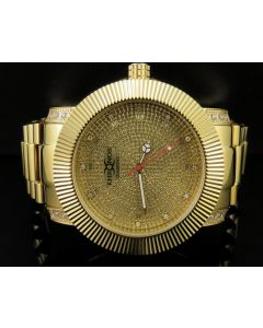 Khronos Yellow Finish Canary Simulated Diamond Presidential Watch