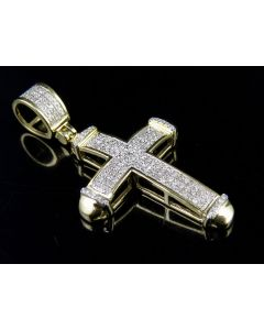 Men's 10K Yellow Gold 3 Rows Dome Cross Real Diamond Pendant Charm1/4 Ct 1.3""