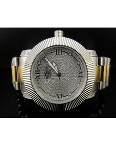 Khronos White Finish Simulated Diamond Two Tone Presidential Watch