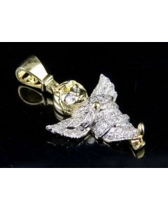 10K Men's Yellow Gold Iced-Out Diamond 3D Cherub Angel Charm Pendant (1/4 Ct) 1""