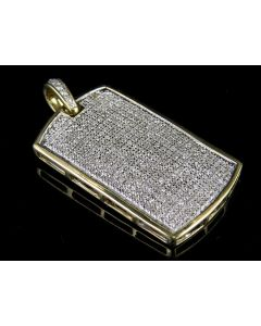 """10K Yellow Gold Mens Iced Out Dogtag Genuine Diamond Pendant Charm 1.0 Ct 1.45"""""""