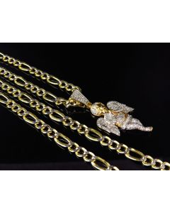 1/10th 10K Yellow Gold Diamond Cut Hollow Figaro Style Chain (5.0mm)