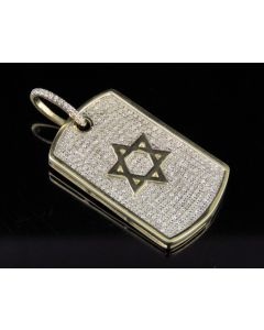 10K Yellow Gold Real Diamond Star Of David Dogtag Pendant 0.75 CT 1.5""