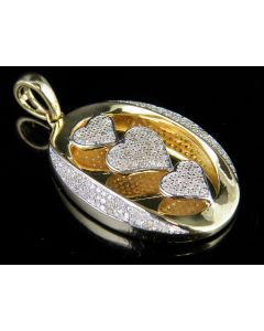 10K Yellow Gold Genuine Diamond Engraved Triple Heart Pendant Charm 1/2 Ct 1.25""