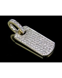 """Solid 14K Yellow Gold Iced Out Dogtag Genuine Diamond Pendant Charm 2.0ct 1.5"""""""