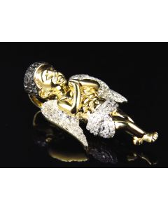 Solid 10K Yellow Gold Urban Hip-Hop Diamond Angel Pendant (0.75ct)
