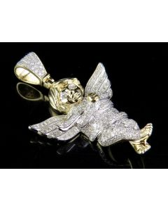 10K Yellow Gold Ice Out Real Diamond Praying Cherub Angel Pendant 1 1/5 Ct 1.6""