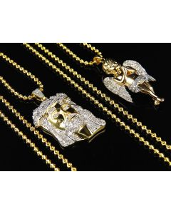 "Genuine Diamond Jesus & Angel Piece With Chain Combo In Yellow Gold Finish (1.25ct) 1.5"" +1.25"""