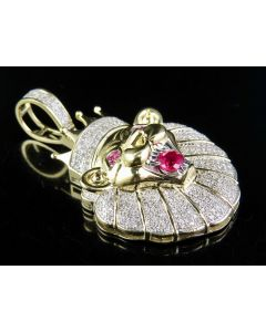 """10K Yellow Gold Real Diamond 3D Crowned Roaring Lion Pendant Charm 3/5 Ct 1.6"""""""