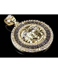 10K Gold Two Tone Gold AAA Simulated Diamond Medusa Pendant