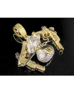 "10K Yellow Gold Diamond Money Bag Gun Pendant 1.5"" 0.75 CT"