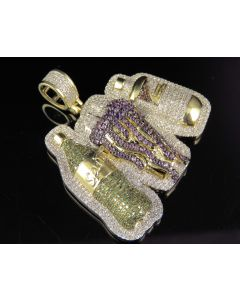 10K Yellow Gold Real Diamond Purple Drank Lean Pendant Charm 1.50 CT 1.6""