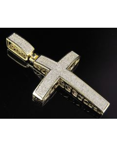 10K Yellow Gold Real Diamond Dome Cross Pendant 0.50 CT 1.8""