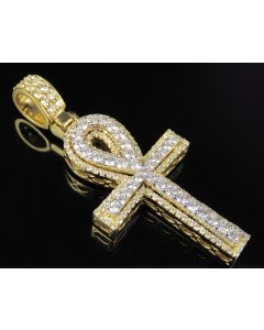 10K Two Tone Gold Real Diamond Ankh Cross Pendant Charm 2.25 CT