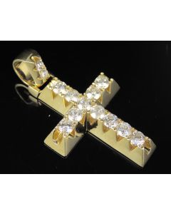 10K Yellow Gold Real Diamond Solitaire Prong Cross Pendant 3.05 CT 1.8""