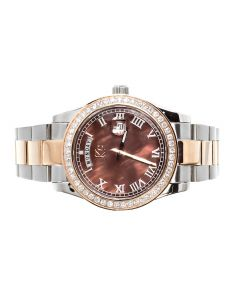 KC Two Tone Date Date Watch with Chocolate Dial (2.0 ct)