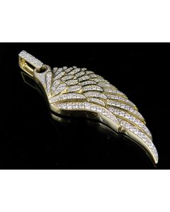 10K Yellow Gold Single Angel Wing Genuine Diamond  Pendant Charm 1 1/2 Ct 2.25""