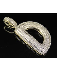 10K Yellow Gold Real Diamond Bubble Initial D Letter Pendant 0.80 CT