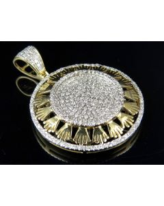 10K Yellow Gold Real Diamond Crown Medallion Pendant Charm 1.15ct