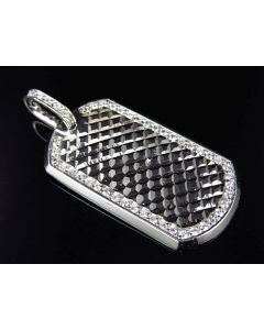 Mens 10K White Gold Cushion Diamond Cut Dog Tag Pendant 2.5""