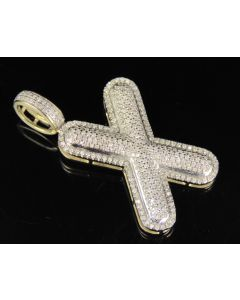 """10K Yellow Gold Real Diamond Bubble Initial X Letter Pendant 0.90 CT 1.4"""""""