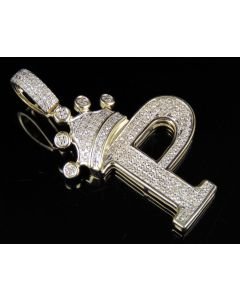 10K Yellow Gold Diamond Crown Initial P Letter Pendant 0.35 Ct 1.5""