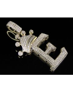 10K Yellow Gold Diamond Crown Initial E Letter Pendant 0.31 Ct 1.5""