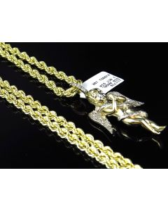Bonded Hollow Rope Chain 4.0 MM in 1/20th 10K Yellow Gold