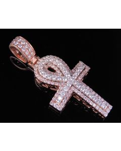 10K Rose White Real Diamond Dome Ankh Cross Pendant 2.60 CT 2""