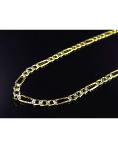 "10K Yellow Gold Diamond Cut Italian Figaro Link Chain 16-26"" (3.0MM)"