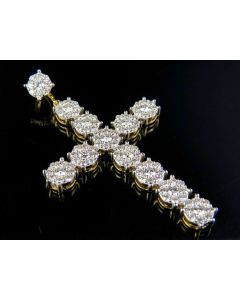 Men's 10K Yellow Gold Diamond Cluster Cross Pendant 3.15 Ct 2 Inch