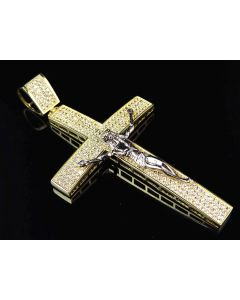 Mens 10K Yellow Gold Simulated Diamond Jesus Crucifix Pendant 3.0""