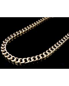 Solid Yellow Gold Diamond Miami Cuban Link Chain Necklace 8MM 30 Inch (4.0ct)