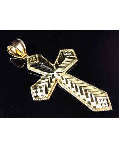 10K Yellow Gold Leaf Style Diamond Cut Flat Cross Pendant 2.0""